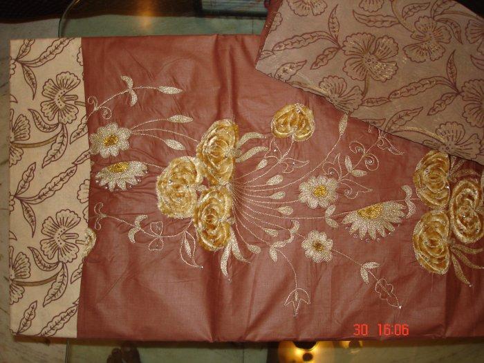 T-317: Salwar Kameez Cotton Fabric with Velvet Applique Work