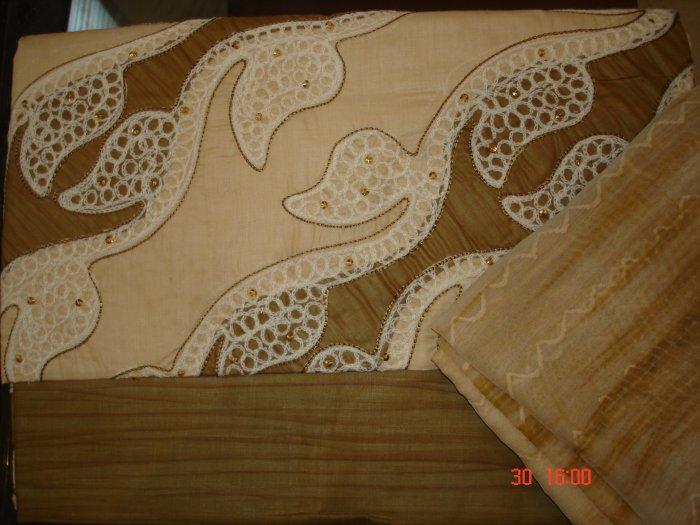 T-315: Salwar Kameez Cotton Fabric with Crochet Design