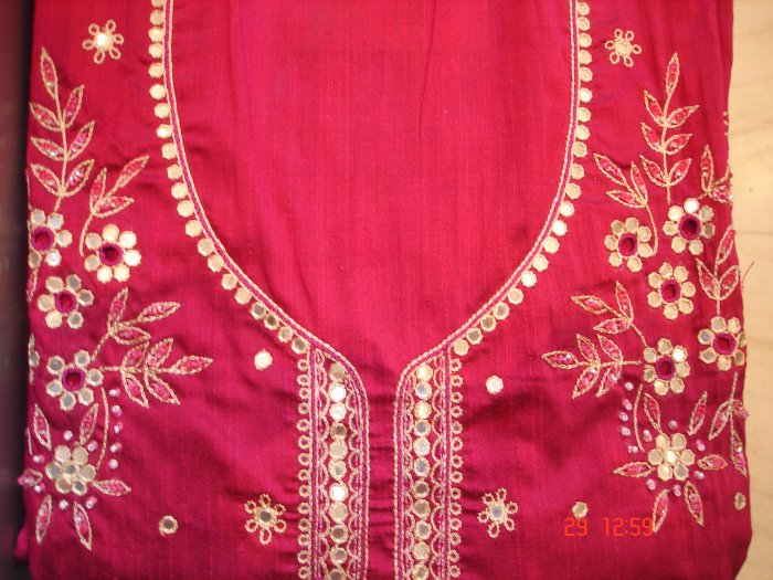 T-268: Salwar Kameez Cotton Silk with Floral Embroidery