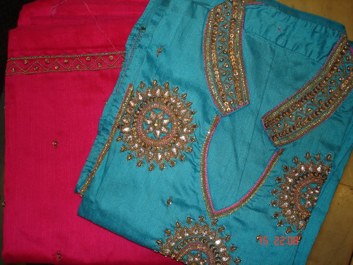 T-269: Blue Salwar Kameez Cotton Silk Fabric with Kunden Work