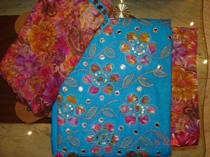 T-019: Aqua Blue Cotton fabric with Applique work