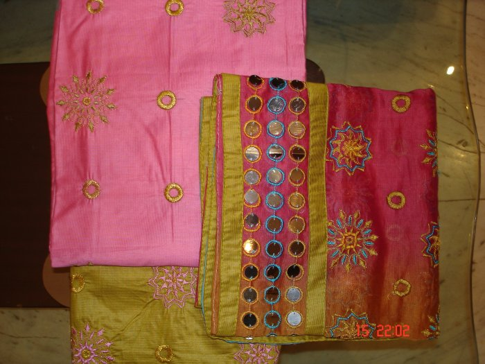 T-046: Semi Silk Fabric with embrodiery and heavy duppatta