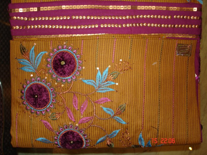 T-288: Cotton Fabric with velvet Applique work