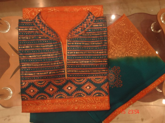 T-393: Cotton Semi-Stitched Fabric with golden prints on body & sequence work