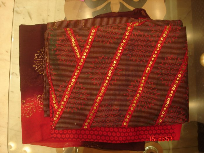 T-363: Red Cotton Salwar Kameez Fabric with sequence work