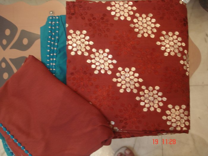 T-338: Brown Color Cotton Salwar Kameez Fabric with embroidery and chiffon dupatta