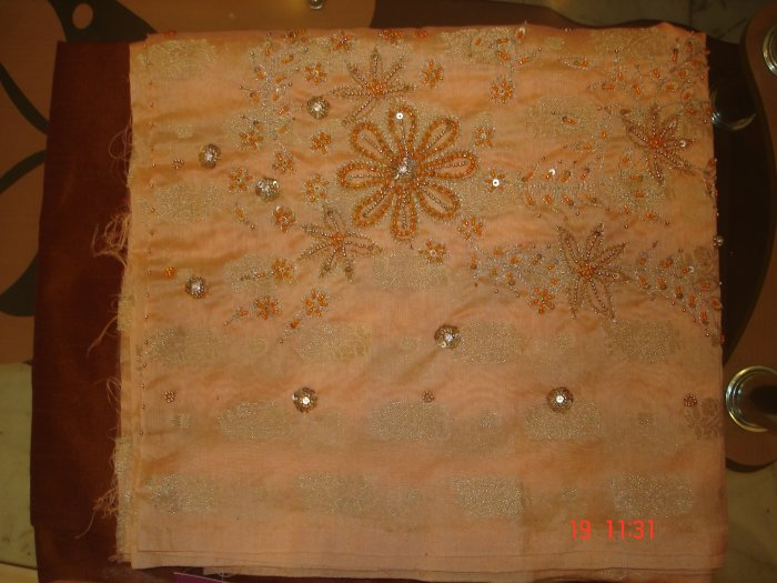 T-341: Chanderi Silk Top with Beads, Sequence & Stone Work