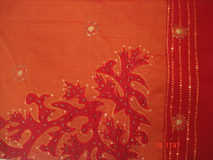 T-301: Red Poly Cotton Kameez with patch work