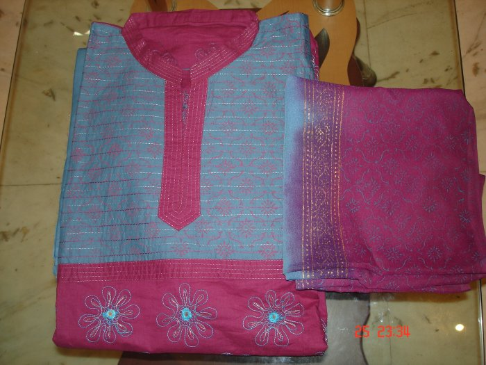 T-399: Cotton Salwar Kameez with embroidery - Pink & Blue