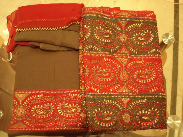T-435: Kameez with heavy beads and emboridery work along with matching Dupatta and Salwar