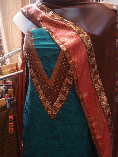 T-462: Blue Embroidered Top Salwar Kameez Suit