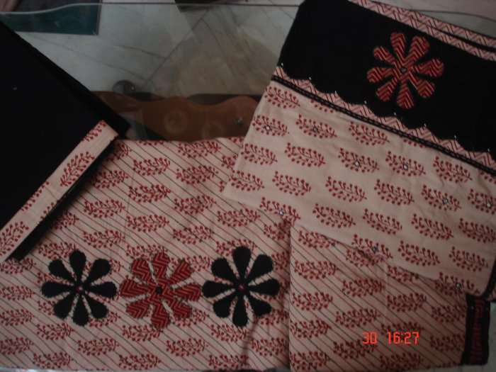 T-428: Biege with Maroon Block Print Salwar Suit
