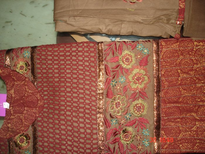T-477: Readymade Maroon Brocade Suit with embrodery and crochet work