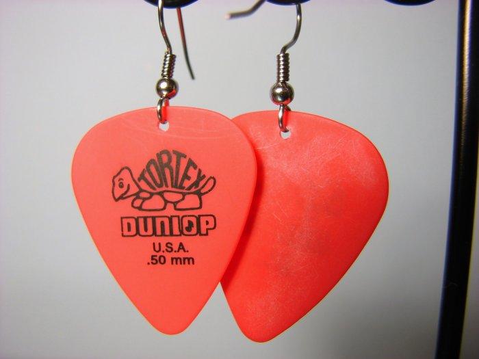 Guitar Pick Earrings- Simple Turtle- Red