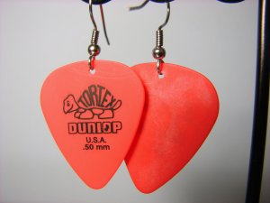 Guitar Pick Earrings- Simple Turtle- Red