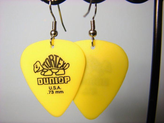 Guitar Pick Earrings- Simple Turtle- Yellow