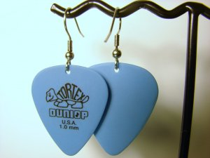 Guitar Pick Earrings- Simple Turtle- Blue