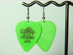 Guitar Pick Earrings- Simple Turtle- Green