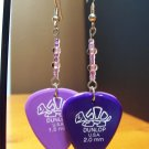 Guitar Pick Earrings- Double Sided Turtles- Purple Shades