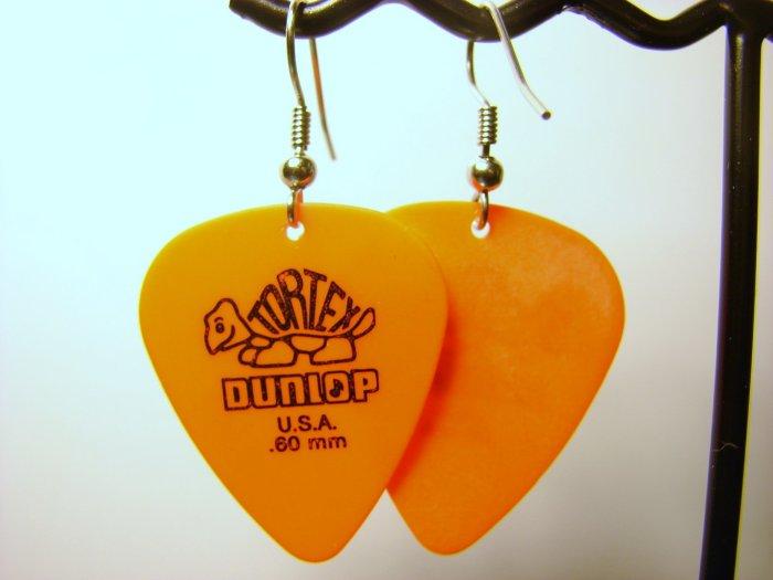 Guitar Pick Earrings- Simple Turtle- Orange