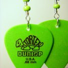 Guitar Pick Earrings- Beaded Turtle- Green