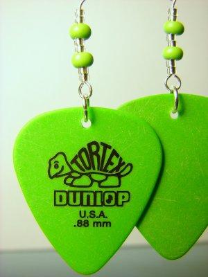 Guitar Pick Earrings- Beaded Turtle- Green