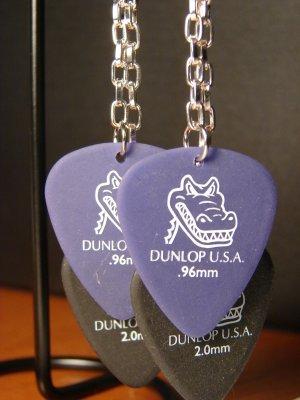 Guitar Pick Earrings- Double Strand Gators- Black and Purple