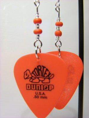Guitar Pick Earring- Beaded Turtle- Red