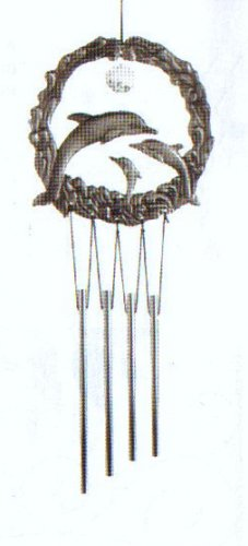 "Dolphin Pewter with ""Crystal""  Windchime"