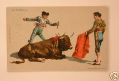Vintage Postcard 1908 I.G. Hatton Toreadors with bull