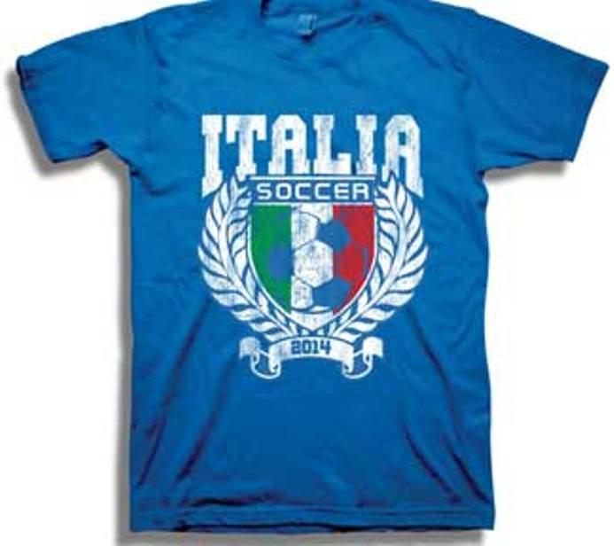 NWOT Men's T-shirt Italia Soccer 2014 Blue Size L