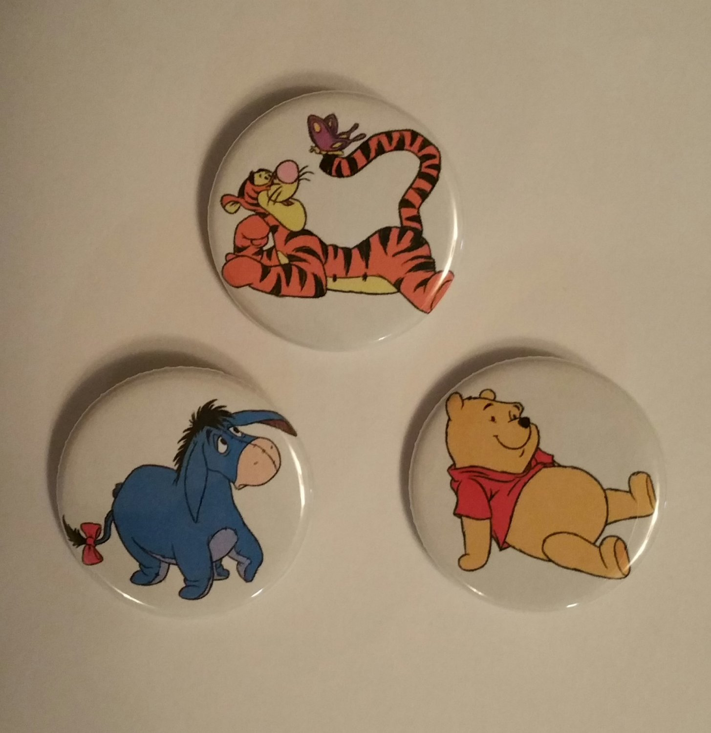 """Lot of 3 1.25"""" Pinback Buttons Badges Pooh Tiger Eeyore (Approx. 32mm)"""