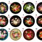 "Wholesale Lot Party Set (12) 1.25"" Pinback Button Badge Zhostovo Trays 1¼"" Pins, Aprox. 32mm"