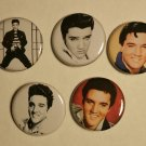 """Lot of 5 1.25"""" Pinback Buttons Badges Elvis Presley (Approx. 32mm)"""