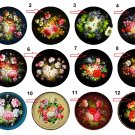 "Wholesale Lot (12) 1.25"" Fridge Magnet Button Zhostovo Trays 1¼"" Pins, Aprox. 32mm"