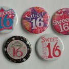 "Lot of 5 1.25"" Pinback Buttons Badges Sweet 16 (1¼"" Pins Approx. 32mm)"