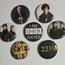 "Lot of 7 1.25"" Pinback Buttons Badges Sherlock Holmes John Watson (1¼"" Pins Approx. 32mm)"