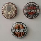 """Lot of 3 1.25"""" Pinback Badge Button Harley Davidson Motorcycles 1.25 in (Approx. 32mm)"""