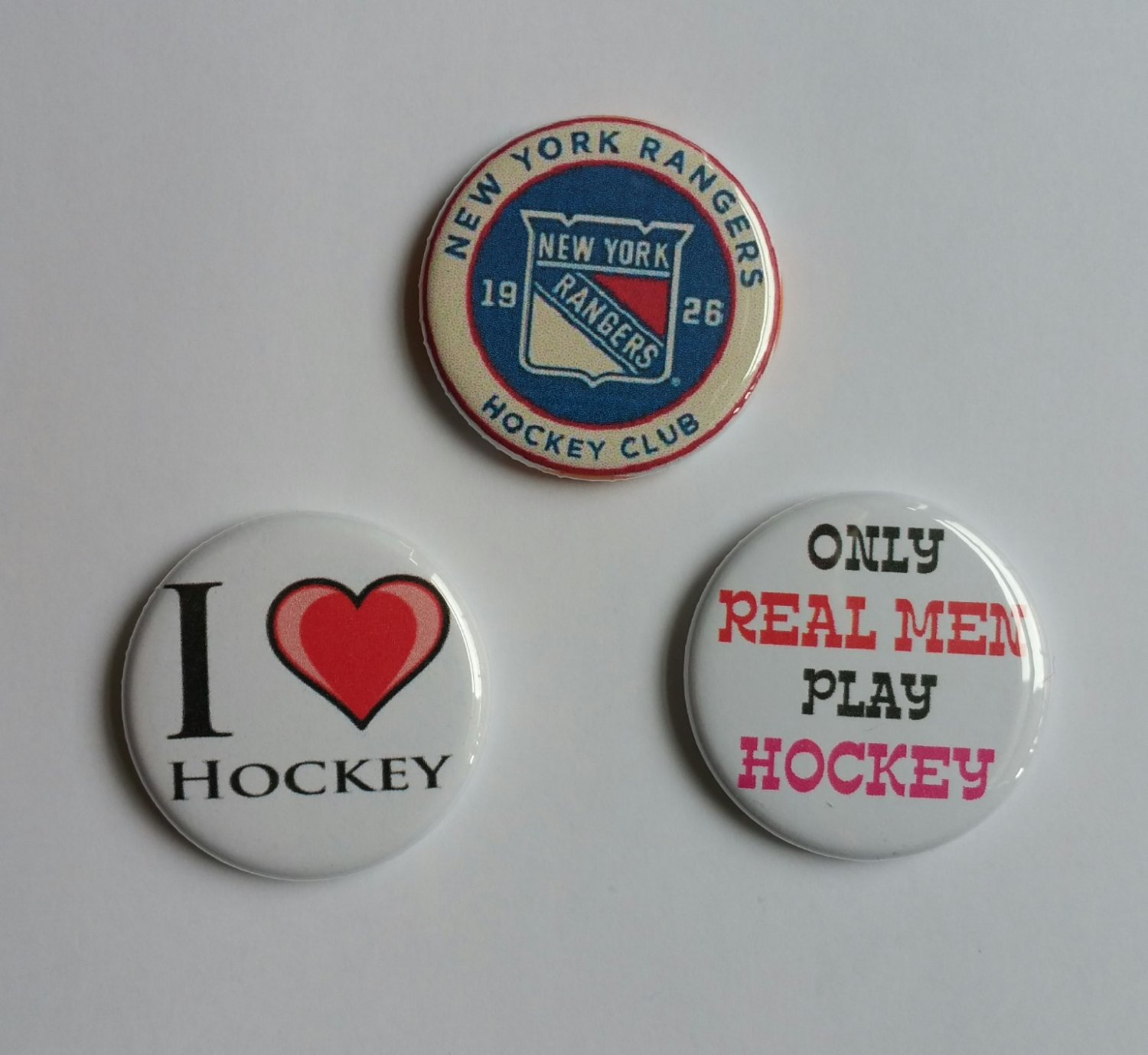 "Lot of 3 1.25"" New York Rangers Hockey Club Fridge Magnets / I Love Hockey/ Only Real Men"