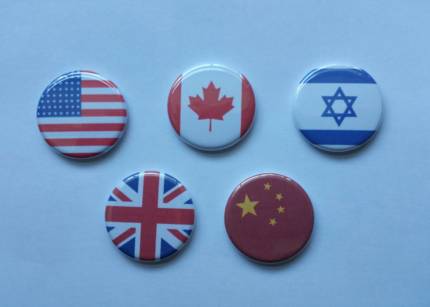 """Lot of 5 1.25"""" Pinback Buttons Flags USA Canada China Israel UK  ¼"""" Pins, Aprox. 32mm"""