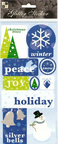 DCWV Glitter Stickers Silver Bells #329