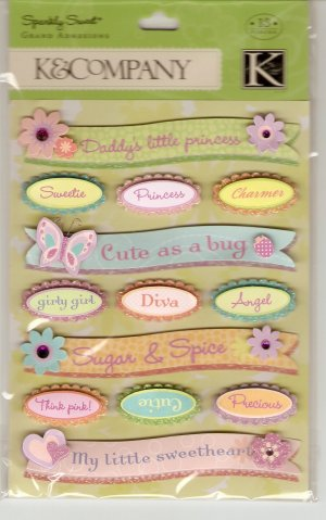 K & Company Grand Adhesions Sparkly Sweet Sparkle Words & Phrases #911