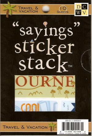"""DCWV """"Saying"""" Sticker Stack Travel & Vacation #945"""