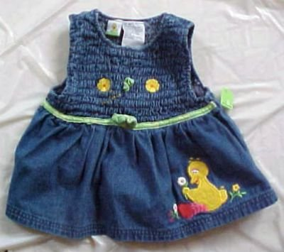 Sesame Street Big Bird Girl Toddler 4T Denim Jumper Dress