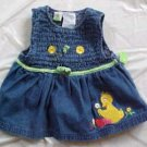 Sesame Street Big Bird Girl Toddler 4T Denim Jumper Dress