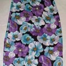 Hillard and Hanson Long Polyester Floral Skirt - Size Mediuem (Blue/Purple)