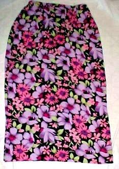 Hillard and Hanson Long Polyester Floral Skirt - Size Mediuem (Pink/Purple)