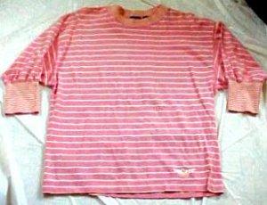 Dockers Salmon Stripped Cotton Knit Shirt Top - Size: Medium