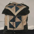 Green and Tan Patchwork Backpack 9 pockets