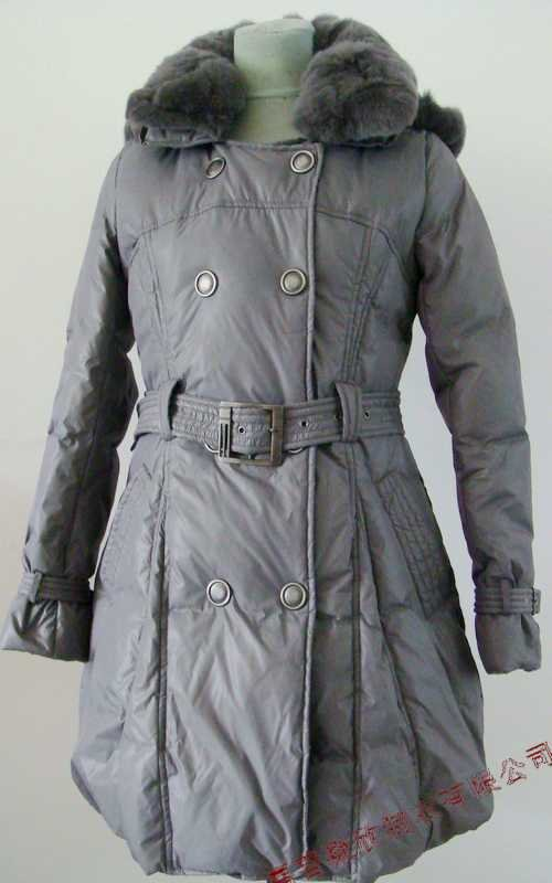 NEW Prancing Leaves Ladies'double-breasted DOWN JACKET with Rex Rabbit Hair Collar&Hoody Gray clr